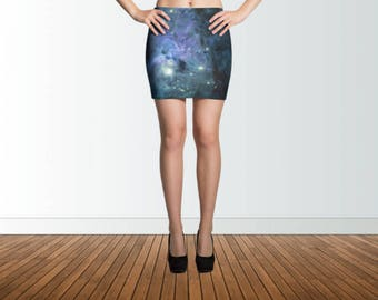 Galaxy Skirt, Mini Skirt, Pencil Skirt, Stretch Skirt, Unique skirt, Galaxy Print skirt, Space Print skirt, Space skirt, Stretchy skirt,