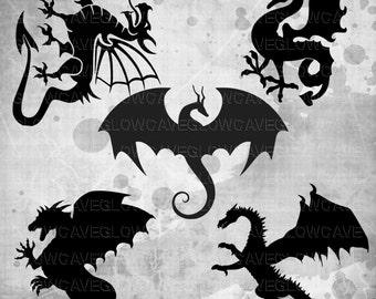 Dragon Silhouettes svg file, Dragon Clip art, Dragon svg, INSTANT DOWNLOAD - svg, png, dxf, eps, jpg