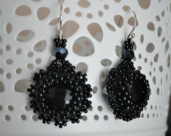 Faceted Onyx Bead Embroidered Earrings