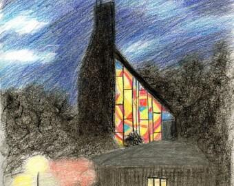 Houston Chapel at Dusk - Print