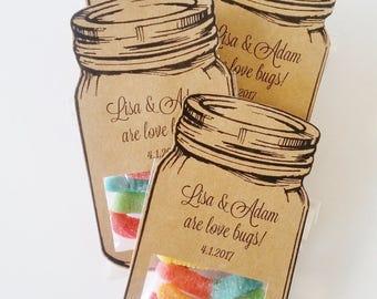 Wedding Favors for Kids, Kids Table Wedding, Candy Wedding Favors, Mason Jar Favors, Rustic Wedding Shower Favors, Children's Wedding Table