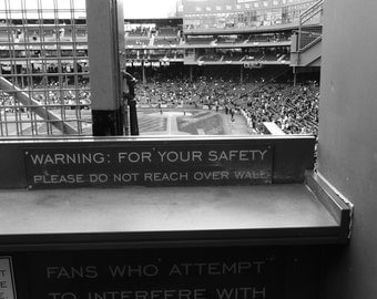 Boston Red Sox; Fenway Park; Green Monster; foul ball pole; left field; balls in play warning sign; Black and White; bedroom; sports; bar