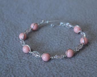 Amelia Sterling Silver Coral Swarovski chunky bead bracelet