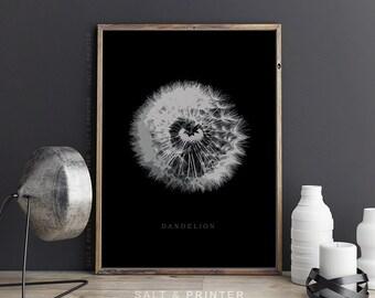 Dandelion wall art, plant print, modern minimalist, modern home decor, flower print, botanical print, flower wall art, black and white print