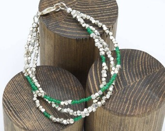 Green and Silver Toned Beaded Bracelet