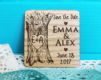 Wood Save-the-Date Magnet-Oak Tree Initials Save the Date-Wooden Save-the-Date Magnets-Engraved Magnets-Rustic Save the Dates-Wedding Magnet