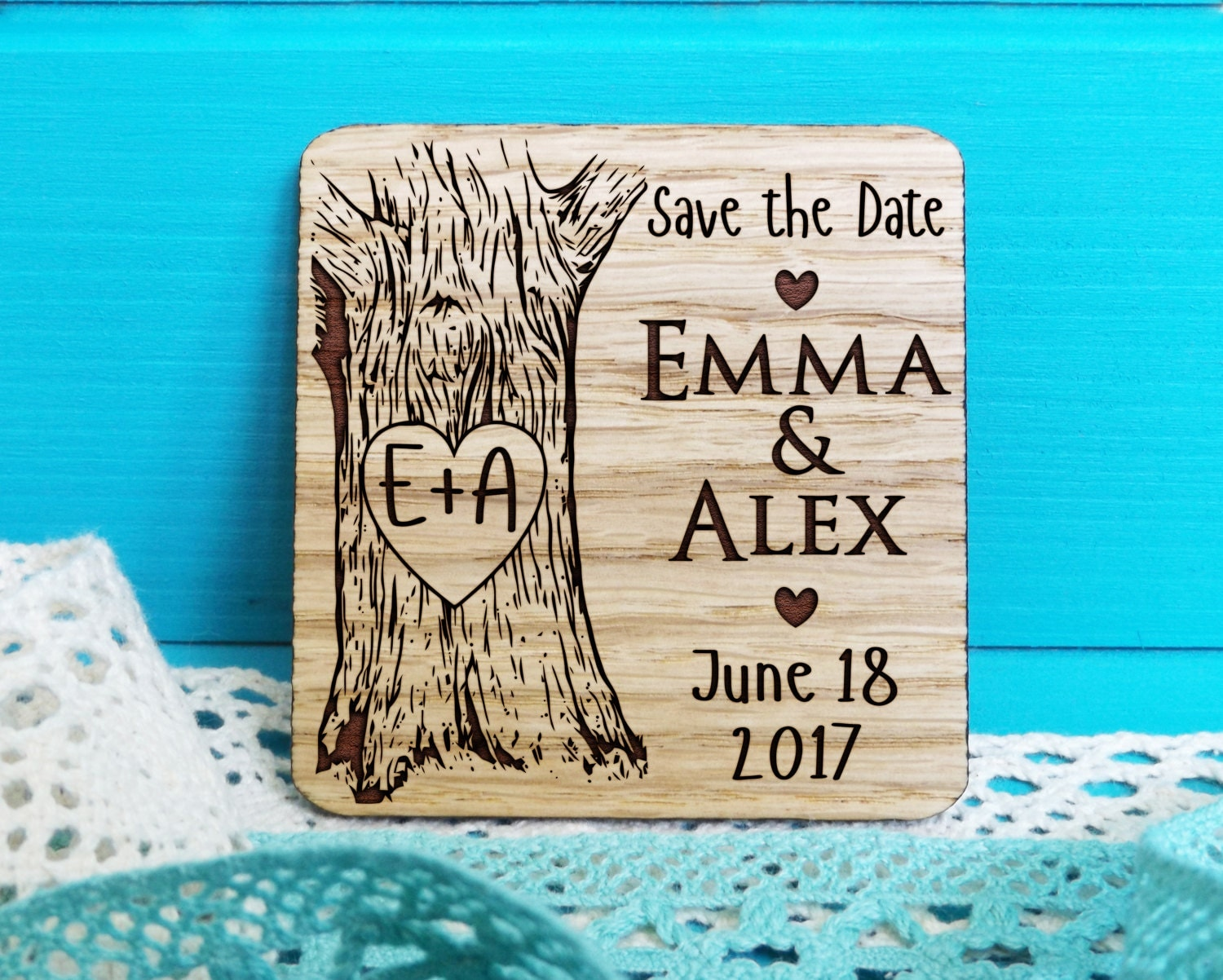 Wood Save The Date Magnet Oak Tree Initials Save The
