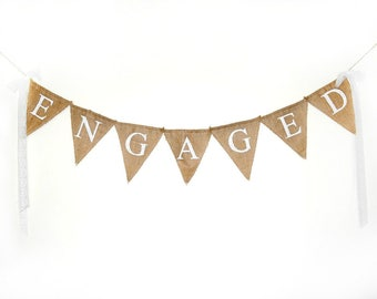 Engaged Banner, Engagement Party Decor, Burlap Banner