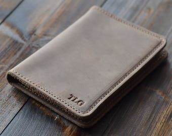 Personalized Leather Passport Wallet, Leather Travel Wallet, Distressed Leather Passport Holder, Leather Passport Cover, Sand Brown