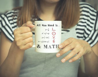 Math Coffee Mug - All You Need Is Love | Maths Mug, Math Teacher Gift, Mathematics Mug, Maths Coffee Mug, Funny Math Mugs