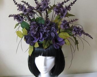 "Headdress-""Nunu"" Purple fall flowers Purple Fairy fantasy flower Crown headpiece"