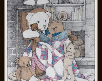 Grandpa's Chair, limited edition print.  Teddy Bears, antique quilt, antique rocker, reading.