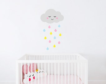Cloud and raindrops Wall Decals, Nursery decals, Baby Wall Decal , Wall stickers, Vinyl decals, kids decals, baby decal, baby girl decals