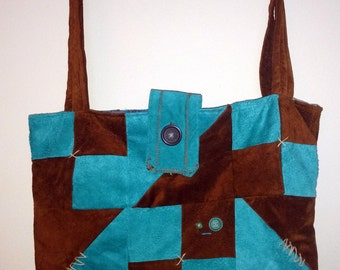 Multi-user recycled suede bag
