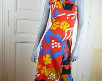 1970s Swedish Vintage Maxi Dress, Orange Blue Yellow White Abstract Floral Print Scandinavian Long Dress: Size 8 US, 12 UK