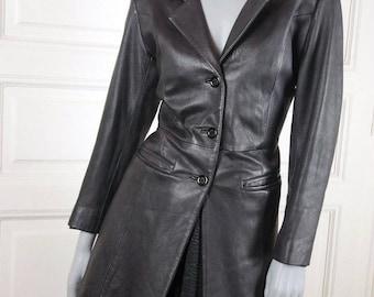 Women's Vintage Black Leather Jacket, Soft Lambskin Leather Coat, Fitted European-Style Leather Jacket: Size 10 US, Size 14 UK