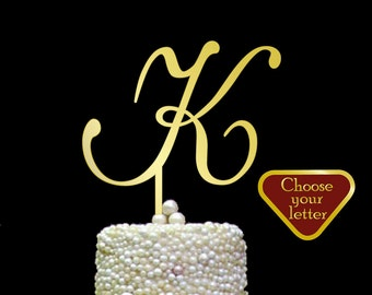 Letter K Cake Topper, Gold K Cake Topper, single letter monogram wedding cake topper, wedding cake topper initial, gold cake topper, CT#055