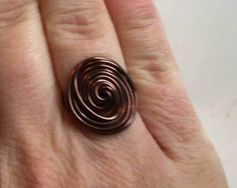 Brown Wire Statement Ring