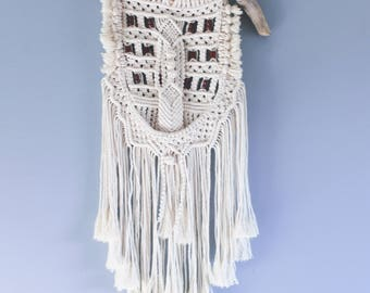 100% Cotton Macrame Wall Hanging with Beaded Accent