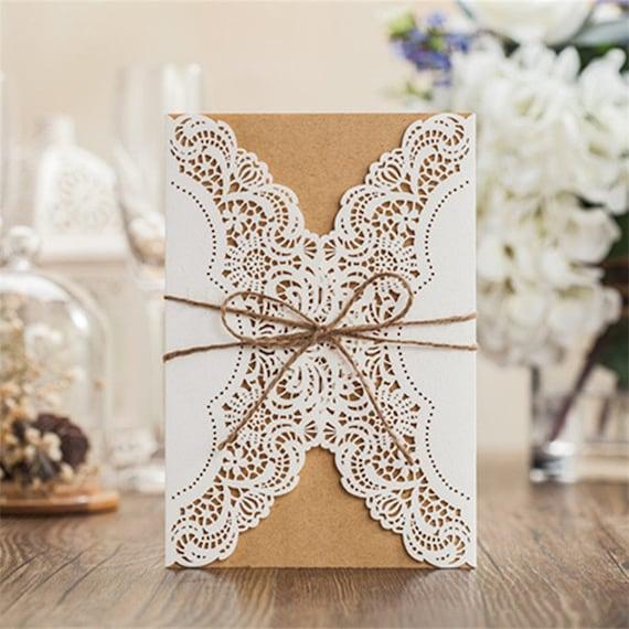 12 Rustic Wedding Invitations/Blank Kraft Wedding Invitation Set ...