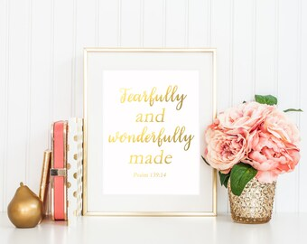 Fearfully And Wonderfully Made / Gold Nursery Decor / Baby Shower Gift / Bible Verse Print / Scripture Print / Psalm 139 / Gold Nursery Art
