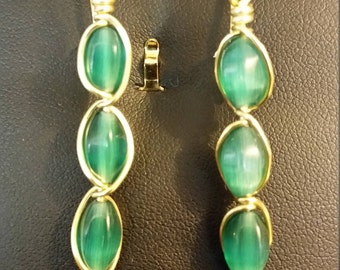 Gold and Green Dangle Earrings