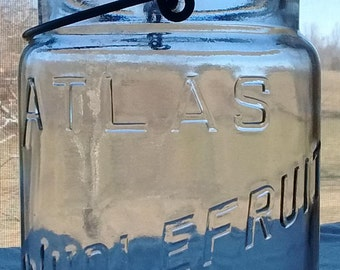 CLEARANCE 1940s Atlas Wholefruit CANNING JAR Quart Wire Bail Vintage Wide Mouth Glass Lid