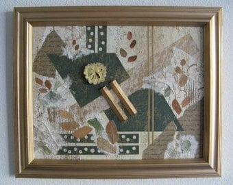 Mixed Media Collage with Eucalyptus and Art Papers of Dark Green Brown White in Gold Wood Frame Wall Decor