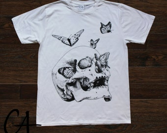Anxiety Limited edition T-shirt , skull and butterflies, pointilism