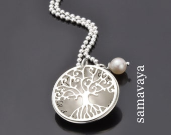 Tree of life necklace TREE OF LOVE 925 Silver jewelry with engraving family chain