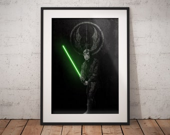 Type Jedi Print, Star Wars Typographic Poster, Wall Art, Star Wars Gifts, Luke Skywalker