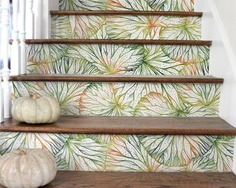 10 Step Stair Riser Decal, Sketched Green And Orange Leaves Stair Sticker,  Removable Stair