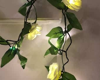 100 LED Rose ivy fairy light garland, ivy garland, rose garland, rose fairy lights, wedding fairy lights