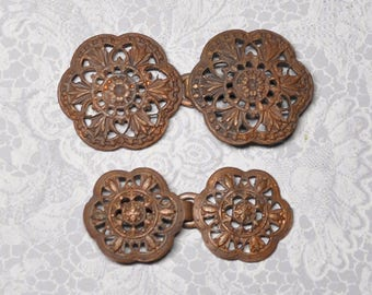 Vintage French Filigree Cape Buckle Frog or Hook Closure Sew On Gold Toned Die Casting Raw Brass 2 Pieces 502-5J