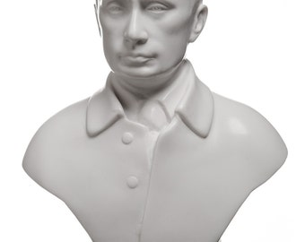 Russian President Vladimir Putin Marble Bust / Statue 18cm (7.1'') white