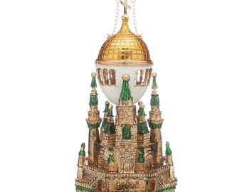 Russian Faberge Style Egg  / Music Box / Trinket Jewel Box Moscow Kremlin 16cm (6.3'') green