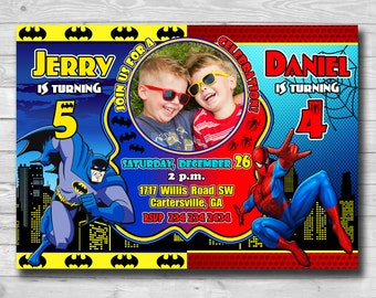 Sibling Birthday Invitation-Superhero Double Invitation-Batman Invitation-Spiderman Invitation-Superhero invitation-Sibling Invitation-Twins