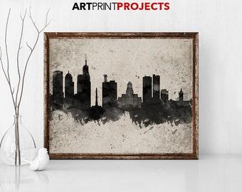 Buffalo Ny Print Buffalo Skyline Buffalo Ny Artwork