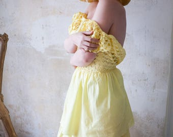 Vintage 70s Yellow  Maxidress with Hollow Out Hearts Detail