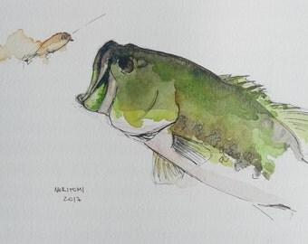 Largemouth bass fishing, original watercolor.