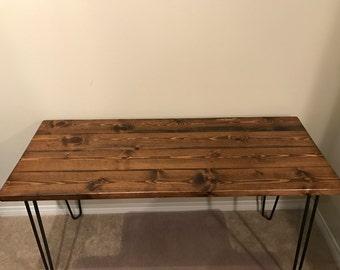 Reclaimed Wood Table, Reclaimed Wood Desk, Hairpin Leg Table