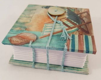Small Handmade Coptic-bound Notebook with Ocean Seaside Deckchair Theme and Mother-of-pearl button closure