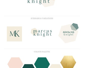 Custom Logo Business Branding Package. Geometric Watercolor Design.