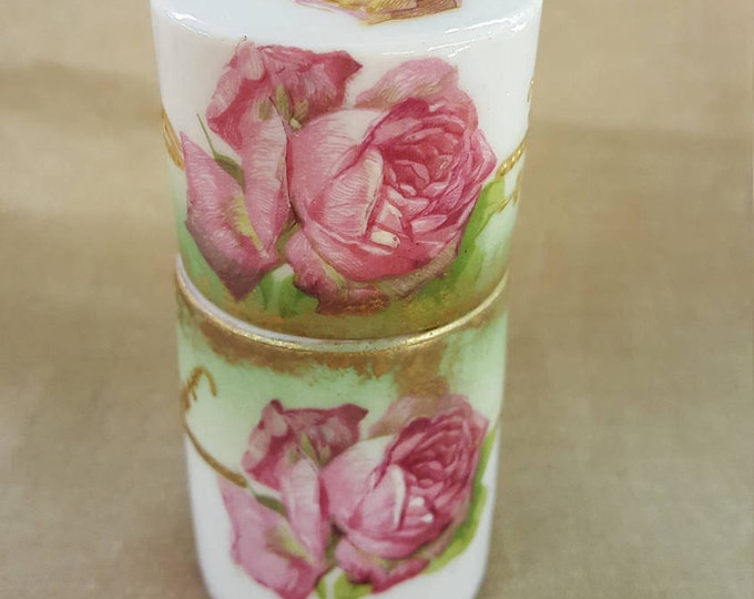 Rare Cylindrical Dresser Perfume Jar Limoges France AK CD Antique Vintage 1900