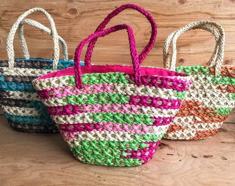 Hand Woven Colorful Straw Beach Bag Tote // Hand Woven Straw Tote