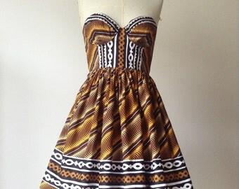 Java Wax Bogolan strapless dress