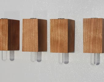 Set of 4 -- The Cherry wooden magnet vase v2.0 --