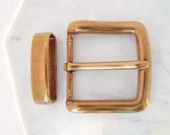 Belt buckle 4 cm, brass, with loop