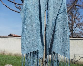 Blue Woven Cotton Scarf