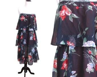1970's Vintage Floral Tiered Dress - M